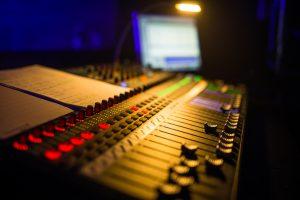 Sound desk in the theatre