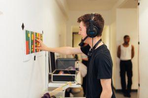 Technician wearing a headset